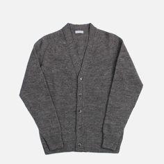 Margaret Howell: Saddle Cardigan - Grey         • Made in UK   • 100% Shetland Wool   • Grey   • Hand wash