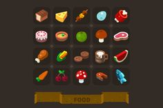 Fantasy Game Icons Set: Food. by TastyVector on @creativemarket