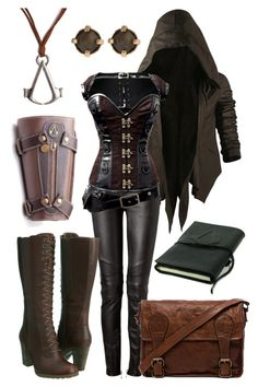 """""""Assassin's Creed Inspired Outfit"""" by onlyonecheesecake ❤ liked on Polyvore featuring Nicholas K, Balmain, Timberland, VIPARO, Maria Francesca Pepe, Bioworld, Leather, corset and AssassinsCreed"""
