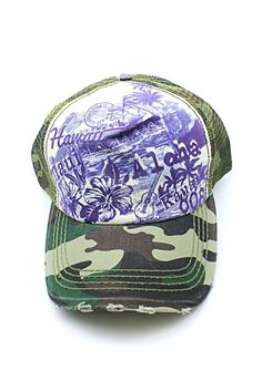 3dde14d31d92 Hawaii Post Aloha Maui Kauai 808 Printed Mesh Back Cap Hat in Green  Camouflage