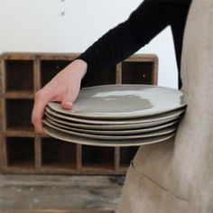 A group of still life plates, hand crafted by Akiko Hirai.