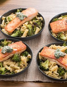 In This Recipe We Re Serving Seared Salmon Over Pasta And Broccoli With