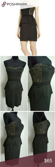 """BCBG MAXAZRIA Moselle Strapless Black Mini Dress BCBG MAXAZRIA MOSELLE Cocktail Little Black Dress Size: 4 Condition: Preowned, gently used, minor signs of wear with prepiling Retail: $338  Strapless with sweetheart neckline Boned corset bust with Metallic bronze and glitter back lace Black piping and stitching details Empire waist with peplum  """"A pleated peplum adds waist-defining appeal to this essential night-out little black dress. """" hidden zipper back with hook and eye BCBGMaxAzria…"""