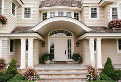 traditional, shingle style house, stone steps, side lights