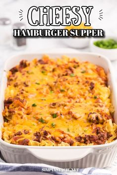 Cheesy Hamburger Supper - This casserole might remind you of a lasagna. It has the same cheesy tomato flavours, but the addition of cream cheese makes it even better! Casserole Dishes, Casserole Recipes, Soup Recipes, Cooking Recipes, Supper Recipes, Easy Dinner Recipes, Slow Cooker Lasagna, Beef And Noodles, Recipes From Heaven