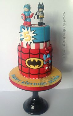Superheroes cake. Captain America, Batman and Spiderman cake. For a Birthday or Wedding!