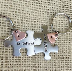 Feb 2019 - To Infinity and Beyond hand stamped puzzle pieces Keychains copper heart custom his and her gift bes Stamped Jewelry, Metal Jewelry, Love You To Pieces, Presents For Best Friends, Anniversary Present, Homemade Christmas Gifts, To Infinity And Beyond, Custom Stamps, Puzzle Pieces