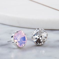 e8b30ef1c Items similar to Light Pink crystal studs, romantic gift for her, square  earrings, Spring wedding jewellery, Swarovski bridesmaid jewellery, Rose  Water Opal ...