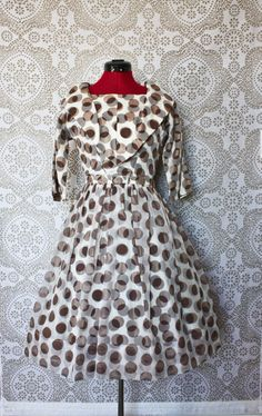 Vintage 1950's Brown and White Polka Dot Cocktail Dress by pursuingandie, $82.50