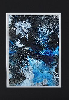 Original Modern Abstract, Alcohol Ink 'Fusion' Art 'Branch Coral Reef' in light blue/dark blue/black/silver mirror image.     8x10     Materials: Alcohol ink, alcohol, Yupo paper.  Black mat, in a clear presentation sleeve.     $25.00