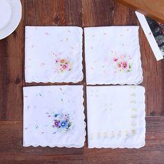 Cotton Women Napkin Handkerchief 28x28cm Vintage Floral Cloth Fabrics Portable Ladies Textiles Embroidered Flower Hankies #Affiliate