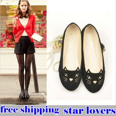 2013 spring autumn New Fashion Cat Face Ballet Casual Womens Shoes Loafers Low Heel Comfort Flats ,female elegant Round head $15.98
