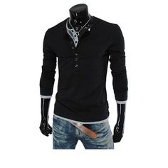 Mens Fashion Solid Color Buttons Long Sleeve T-shirt