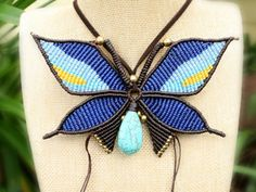 ON SALE Butterfly Macrame Statement Necklace