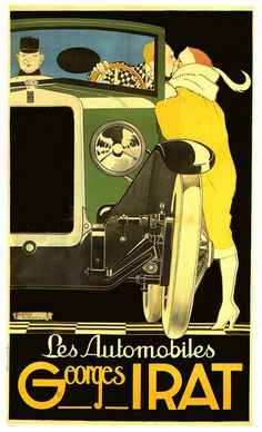 Les Autos Georges Irat.  1923 poster design by Rene Vincent.