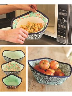 "Keep your fingers safe from hot microwaved food.   You'll never burn your fingers again on a piping hot bowl from the microwave when you use these hand holders. When you're not using them for the microwave, they make great bowl for storing apples, oranges or any other fruits or vegetables on your countertop. Each bowl uses 100% cotton batting on the inside and ll sizes are fat quarter friendly.  Finished sizes:  Small: 6 1/2"" in diameter  Medium: 9 1/2"" in diameter  Large: 12"" in diameter"