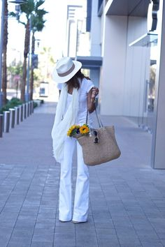 White flare jeans, scarf, raffia bag and t-shirt all fabfound @ marshalls on clearance. summer style, white on white style, summer bag,