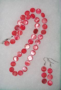 Handmade Beaded Necklace Set Coral Mother of by SCLadyDiJewelry
