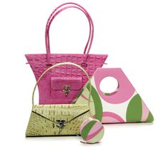 Poesis Pink & Green Handbags