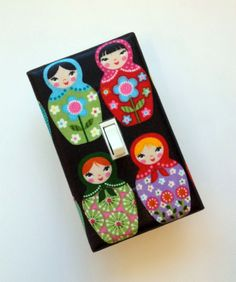 Matryoshka Doll Light Switch Plate Cover / Standard Single / Baby Nursery / Children Kids Girls Room / Kitchen. $8.00, via Etsy.    How sweet