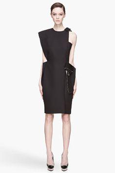 LANVIN Black and beige textured Cutout Runway Dress