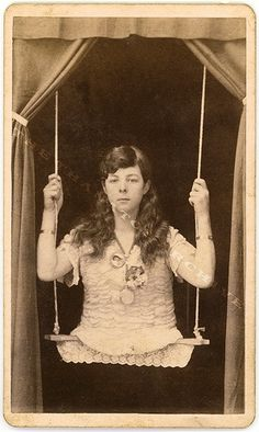 Circus Freak - Girl on swing born with absolutely no legs. Increase the erie feeling in your home for halloween by hanging some creepy vintage photos in distressed frames. Old Circus, Night Circus, Circus Acts, Dark Circus, Vintage Photographs, Vintage Photos, Freak Show Circus, Sideshow Freaks, Creepy Carnival