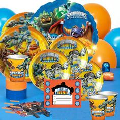 *Skylanders Deluxe Party Pack for 16 Party Supplies Canada & Halloween Supplies Canada - Open A Party.com Skylanders Birthday Party Supplies Sklyanders party ware.