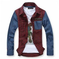 Puts together color Han according to the honest clothes brocade spring clothing new product 2012 cowboys Ban the fashionable long sleeve check shirt gentleman shirt   $21.94