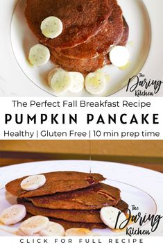 The perfect fall morning is just around the corner. These delicious pancakes have all the pumpkin spice you need to get you through the season. Plus, they are made with clean and nutritious ingredients. #healthypancakes #glutenfree #vegan #veganrecipe Strawberry Dessert Recipes, Healthy Dessert Recipes, Vegan Desserts, Tasty Pancakes, Pumpkin Pancakes, Best Vegan Recipes, Vegan Breakfast Recipes, Easy Family Meals, Family Recipes