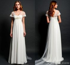 Dresses For Women Sheer Lace Bolero Cap Sleeves Maternity Wedding Dresses For Pregnant Women Empire Waist V Neck Illusion Back Elegant Beach Bridal Gowns Mature Bride Wedding Dresses From Alinabridal, $125.24| Dhgate.Com
