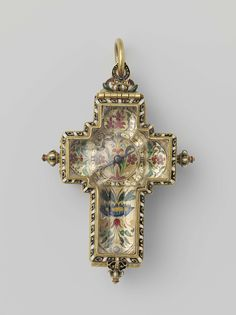 Watch rock crystal and gold, in the form of a Latin cross,France, R. Dieu, ca 1550 - 1600
