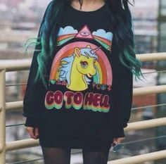 You are sweet as a rainbow, but you don't mince your words - just like this Unicorn Sweatshirt. Ain't no one going to tell you nothing in this sweatshirt. Great for going to the mall, hanging out or surprising everyone at work on casual Friday. Features: - Soft-Touch Polyester + Cotton Blend - Long sleeves - Round neck - Machine Wash - Size Chart: Size Shoulder Sleeve Bust Length S 42cm 60cm 96cm 64cm M 43cm 62cm 100cm 66cm L 44cm 64cm 104cm 68cm XL 45cm 66cm 108cm 70cm