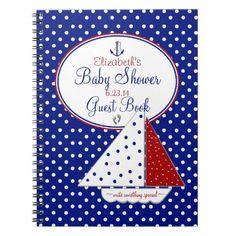 Nautical-Baby Shower Guest Book- Spiral Notebook
