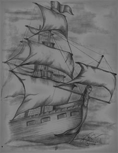 Pirate Ship Sketch by Vickie Roche Tattoo concept- mermaid bust Pirate Ship Drawing, Boat Drawing, Pencil Sketch Drawing, Pencil Art Drawings, Pencil Drawing Inspiration, Sketch Art, Tattoo Inspiration, Cool Art Drawings, Art Drawings Sketches