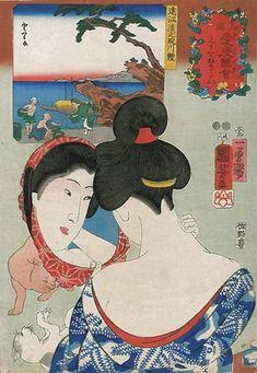Wanting to tweeze the nape of the neck (cats playing) | ukiyo-e woodblock print, 1852 | Ugatawa Kuniyoshi