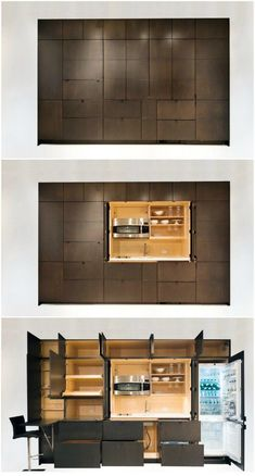 A kitchenette is a mini-kitchen that at minimum usually has a fridge and a microwave, but some designs pack an impressive amount of functions into a small spa Hidden Kitchen, Mini Kitchen, Kitchen Small, Small Kitchens, Kitchen Design Open, Interior Design Kitchen, Kitchen Designs, Space Kitchen, Kitchen Soffit