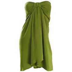 5a31a850fbf94 Christian Lacroix 1990s Chartreuse Green Strapless 90s Silk Empire Waist  Dress 1 Vintage Clothing For Sale
