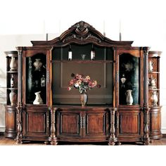 Large Ornate Mahagany Wall Unit TV Entertainment Center in Entertainment Units, TV Stands