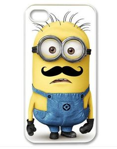 apple iphone case Cool Funny Despicable Me Minion with Cute Mustache iphone 5 case -Includes screen protector and cleaning cloth on Etsy, $9.80