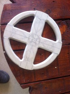 Smaller version of the Celtic crosses made from blank wooden clock faces