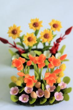 Polymer Clay Canna and Sunflower Miniature Garden for Dollhouse, delicate and beautiful, set of 2 pcs