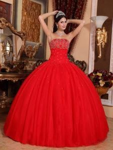 eff8376e792 Buy best beading red strapless floor length tulle sweet sixteen dresses  from discount quinceanera dresses collection