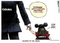 Michael Ramirez Cartoon 02/13/2013 - Entitlements Barack Obama America State Of Union