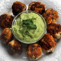 Spicy Chicken Meatballs with Avocado Dip