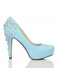 Shoes www.shoeenvy.com.au Ice Dragon - Womens blue snake studded platform high heels $169