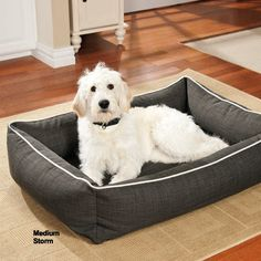 This reversible dog bed is like getting two beds in one. Woven jacquard on one…
