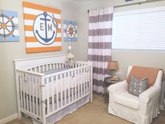 Orange, Blue and Gray Nautical Nursery - Project Nursery