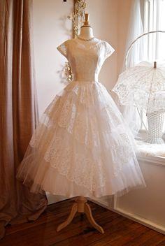 Vintage 1950s White Lace Tea Length Wedding Dress