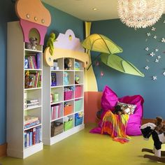 Furniture, Inspiring Kids Playroom Furniture Ikea With White Bookshelf Rocking Toy And Purple Giant Floor Pillow Elegant Kids Playroom Furniture Ikea Ideas: Cool Kids Play Area Looks Perfect with Kids Playroom Furniture Ikea