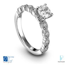 Unique Settings of New York platinum and diamond engagement ring with prong set round cut diamonds. Get a no obligation quote at http://clickhere.diamondvox.com/pinterest-quote/